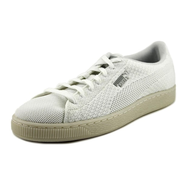 Puma Basket Knit Mesh Men Round Toe Synthetic White Tennis Shoe