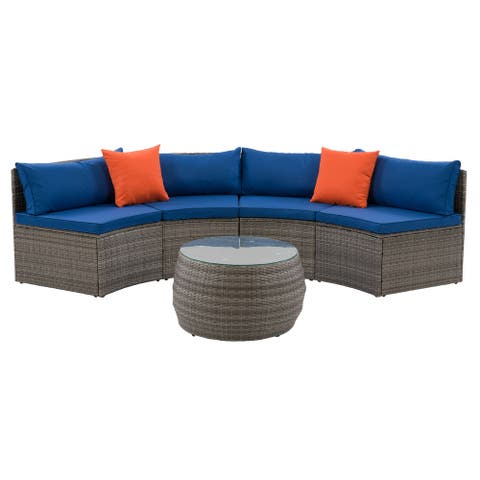 CorLiving Grey Parksville Patio Sectional Set with Blue Cushions 3pc
