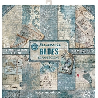 "Stamperia Double-Sided Paper Pad 12""X12"" 10/Pkg-Blues, 10 Designs/1 Each"