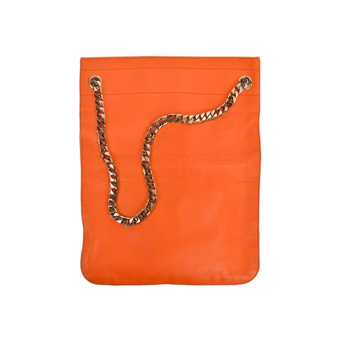 4a0636a87f84 SALE. Givenchy Orange Leather Maison Silver Chain Strap Shoulder Bag