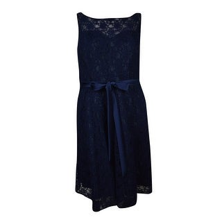 Marina Women's Illusion V-Back Belted Lace A-Line Dress - Navy - 14W