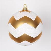 Vickerman  Gold & White Matte Glitter Chevron Ball Ornament, 8 in.