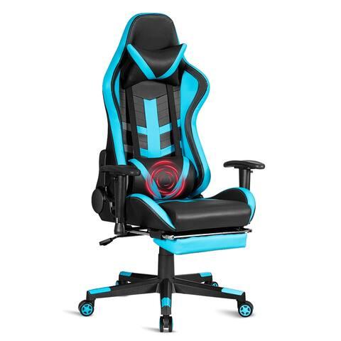Costway Massage Gaming Chair Reclining Racing Chair High Back w/Lumbar