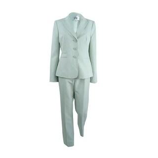 Le Suit Women's Damask-Stripe Pantsuit - Mint Multi