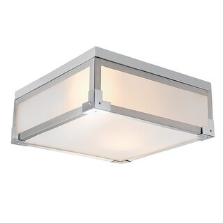 """Globe Electric 60339 Blair 2 Light 13"""" Wide Flush Mount Square Ceiling Fixture - brushed steel / chrome - n/a"""