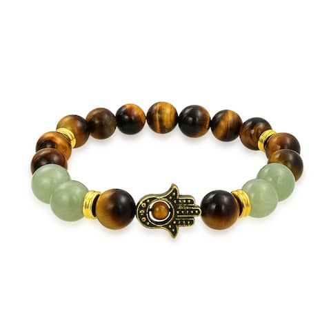 Hamsa Hand Brown Tiger Eye Dyed Green Jade Round Bead Strand Stretch Beads Bracelet For Women For Men Gold Plated Metal