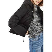 TopShop NEW Black Women's Size 6 Puffer Hooded Full Zip Jacket