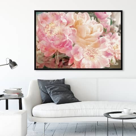 Oliver Gal 'Peonies Know' Floral and Botanical Framed Wall Art Prints Florals - Pink, Orange