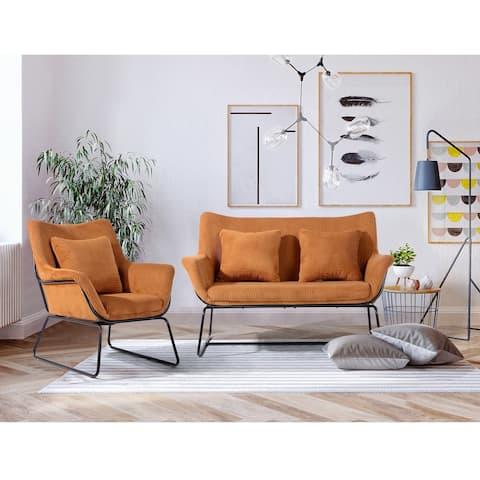 Furniture R Mid-Century Modern Velvet Sofa with 2 Pillows - N/A