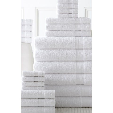 100% Cotton 24 piece Move-In Bundle Towel Set (2 Bath Sheets, 4 Bath Towels, 6 Hand Towels, 8 Wash Cloths, 4 Fingertip Towels)
