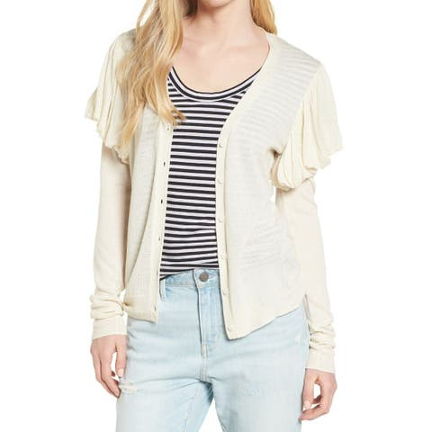 Hinge White Ivory Womens Size Large L Puff-Sleeve Cardigan Sweater