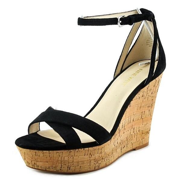 Nine West Joker Women Open Toe Synthetic Black Wedge Sandal