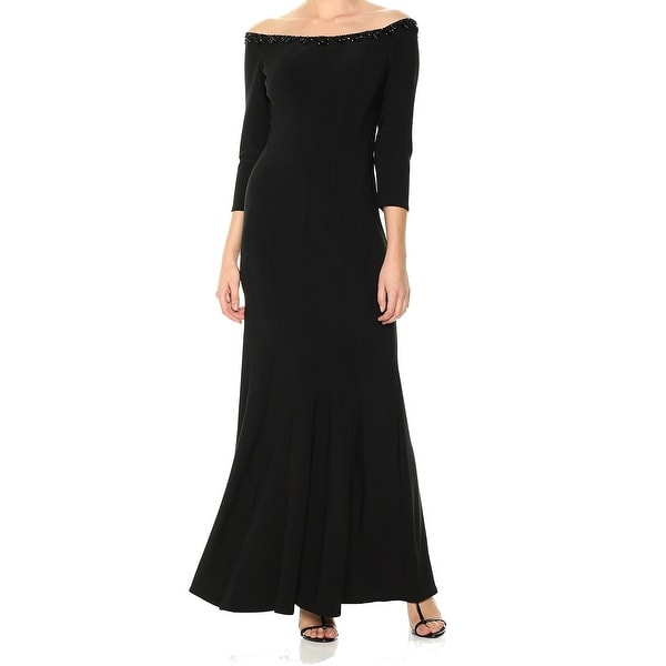 Alex Evenings Womens Gown Black Size 4 Off-The-Shoulder 3/4 Sleeve. Opens flyout.
