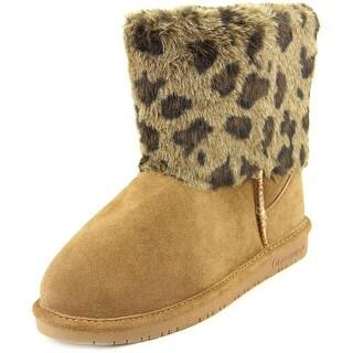 Bearpaw Keely Youth Round Toe Suede Tan Winter Boot