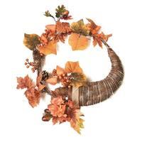 "20"" Autumn Harvest Decorative Artificial Pinecones, Berries and Leaves Cornucopia Wreath - Unlit - Brown"