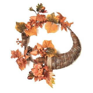 "20"" Autumn Harvest Decorative Artificial Pinecones, Berries and Leaves Cornucopia Wreath - Unlit"