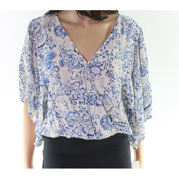 Polly Esther Blue White Floral Print Women's Size Medium M Blouse
