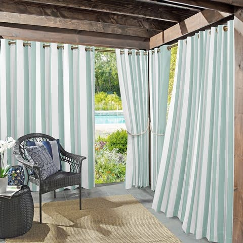 Sun Zero Valencia Indoor Outdoor UV Protectant Room Darkening Grommet Curtain