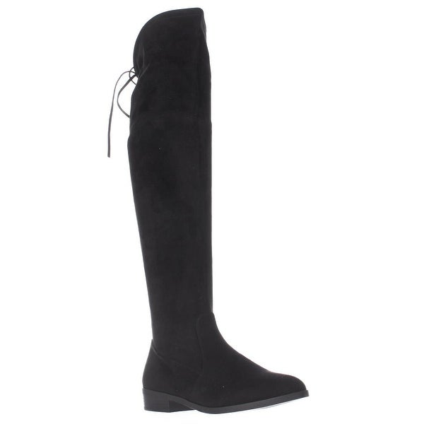 I35 Imannie Over The Knee Back Tie Boots, Black