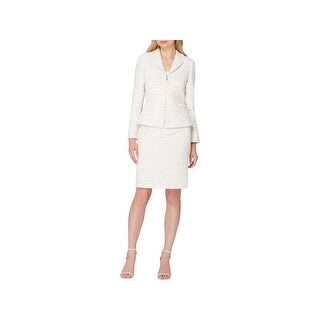 Tahari ASL Womens Petites Skirt Suit Fringe Trim Long Sleeves