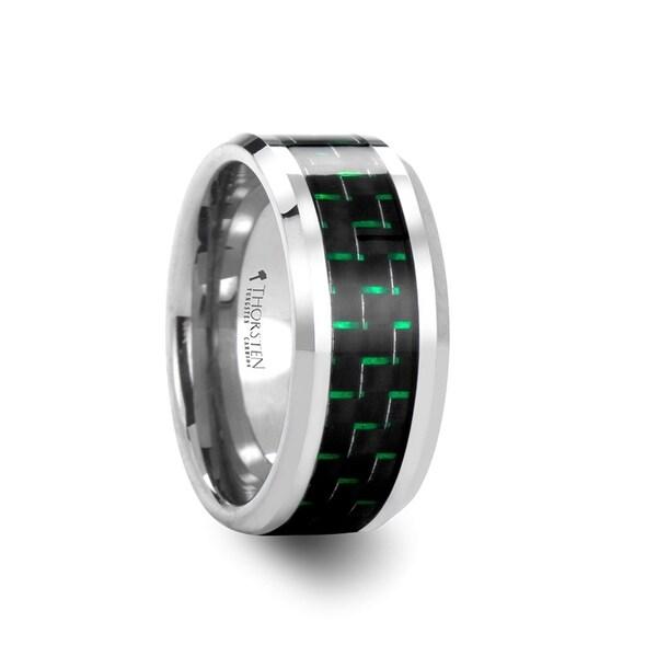 THORSTEN - AETIUS Tungsten Carbide Wedding Band with Black & Green Carbon Fiber Inlay - 10mm