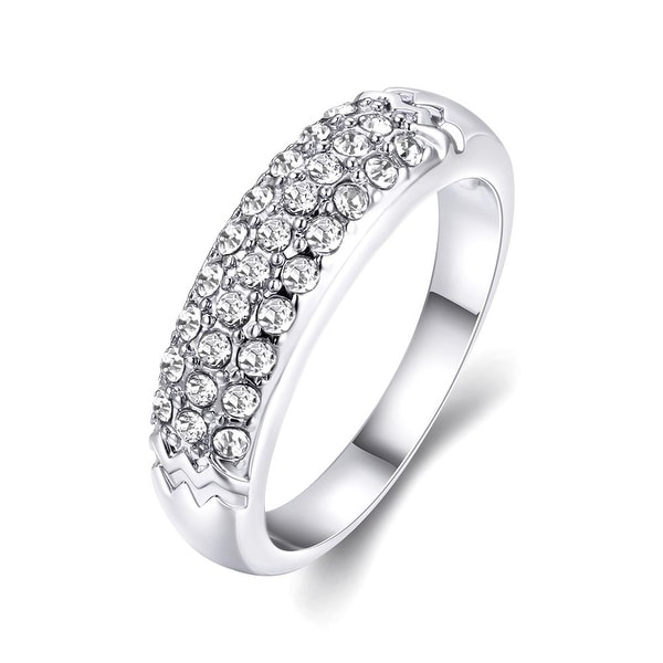 White Gold Triple Layer Middi Ring