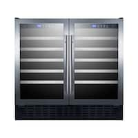 Summit SWC3668 36 Inch Wide 68 Bottle Capacity Free Standing Wine Cooler with LE - Black/Stainless Steel - N/A