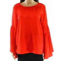 Ro & De Red Women Small S Bell Sleeve Scoop Neck Lace Up Blouse