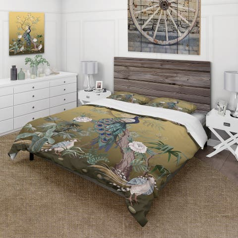 Designart 'Chinoiserie With Birds and Peonies VI' Traditional Duvet Cover Set