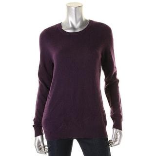 Private Label Womens Crewneck Sweater Cashmere Ribbed Trim
