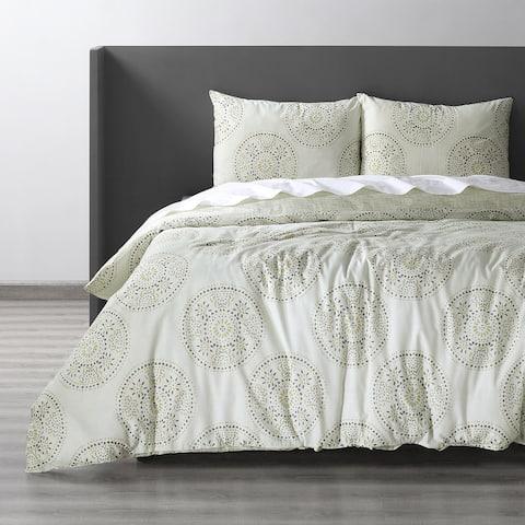 Exclusive Fabrics Fortune Grey Cotton Double Slub Linen Weave Reversible Duvet Set