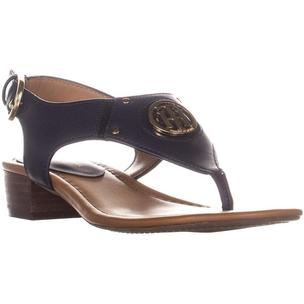 c74fca9074 Tommy Hilfiger Kissi Block Heel T Strap Buckle Sandals, Dark Blue - 7 us
