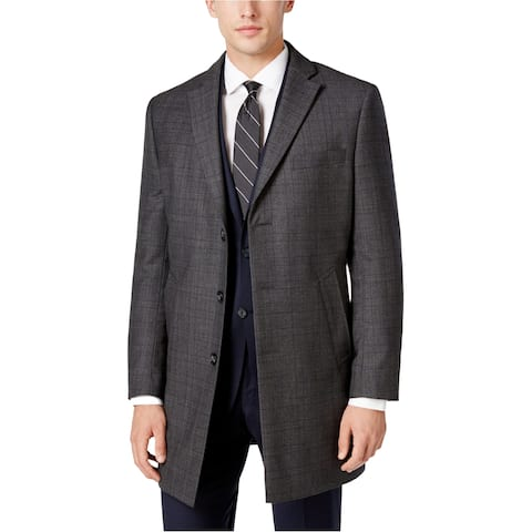 Calvin Klein Mens Plaid Overcoat Dress