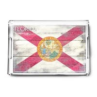 Rustic Florida State Flag - Lantern Press Artwork (Acrylic Serving Tray)