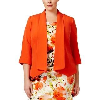Kasper Womens Plus Jacket 3/4 Sleeves Open Front