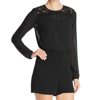 Michael Kors NEW Black Women's Size 8 Floral Lace Long Sleeve Romper