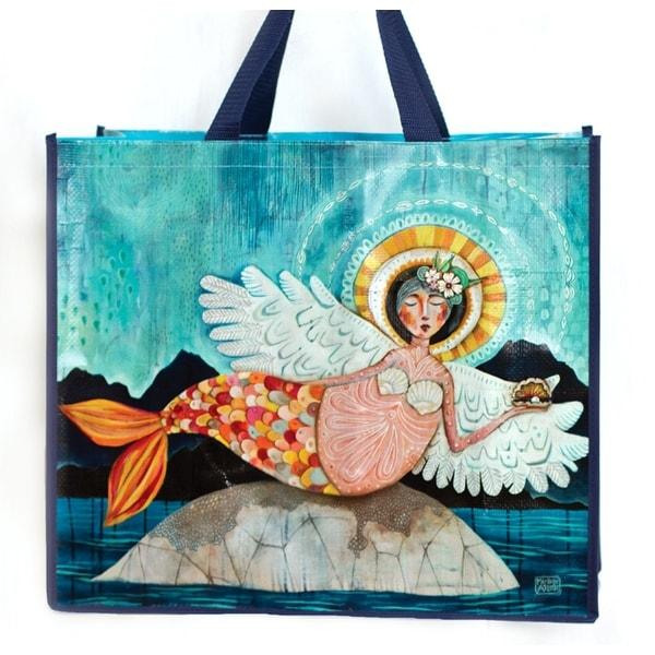 Mermangel Mermaid with Angel Wings Shopping Bag 17.75 Inches