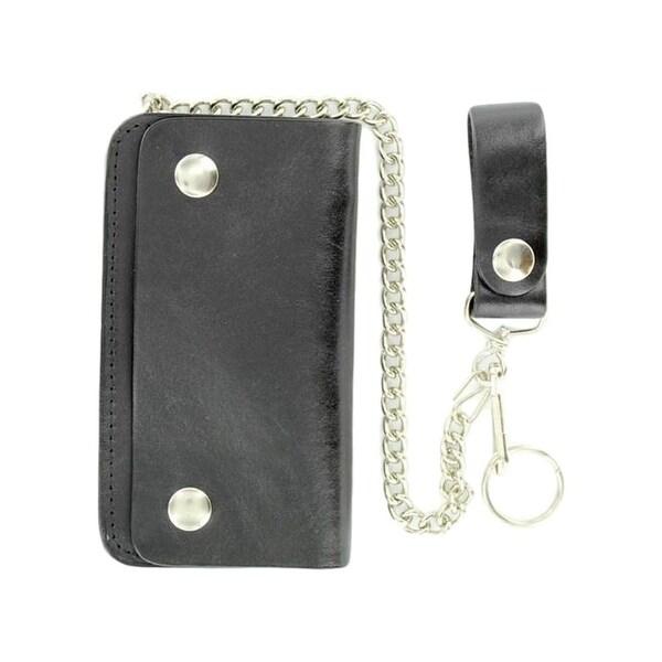 M&F Western Wallet Mens Leather Trucker Key Chain Black 0 - S