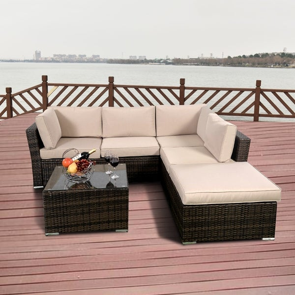 Costway 4PCS Wicker Cushioned Patio Rattan Furniture Set Sofa 5