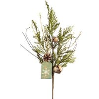 Club Pack of 12 Green and White Nature Inspired Christmas Pine Spray with Snowflake Tag 29.5""