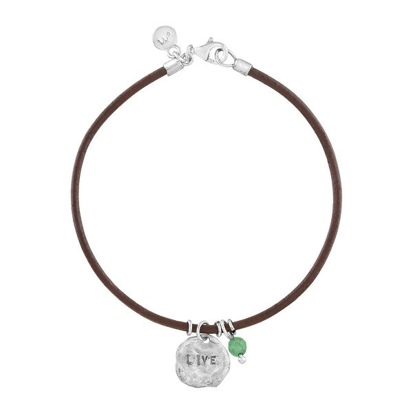 'Live' Leather Charm Bracelet with Aventurine in Sterling Silver - Green