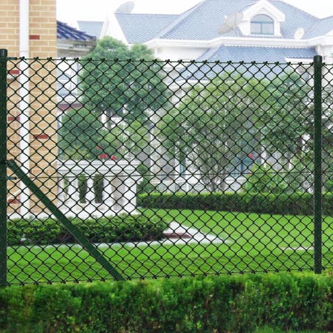 """vidaXL Chain Fence 2' 7"""" x 82' Green with Posts & All Hardware"""