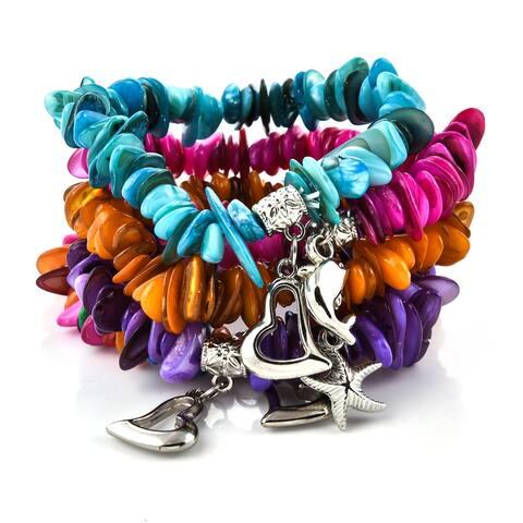 Set of 5 Multi Color Stretchable Charm Bracelet Adjustable