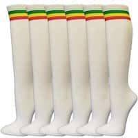 Women Rasta Striped White Casual Tube Knee High Socks(6 pairs)