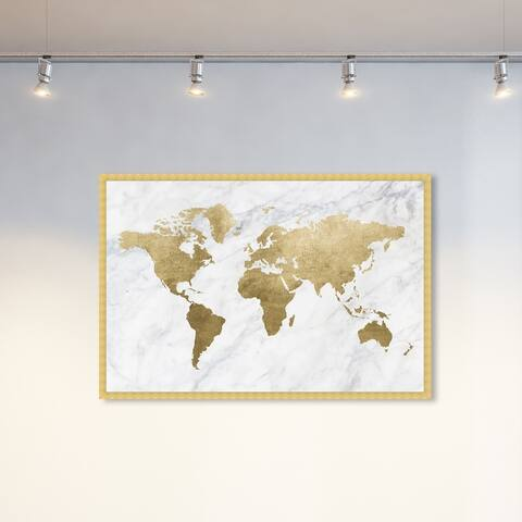Oliver Gal 'Mapamundi Marble' Maps and Flags Wall Art Framed Print World Maps - Gold, White