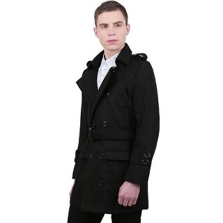 Unique Bargains Men Button-tab Epaulets Long Sleeve Double Breasted Belted Worsted Coat - Black