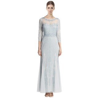 Aidan Mattox Beaded 3/4 Sleeve Illusion Evening Gown Dress - Mist