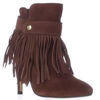 June Ambrose 442761 Fringe Heeled Ankle Boots, Cognac - 6 us