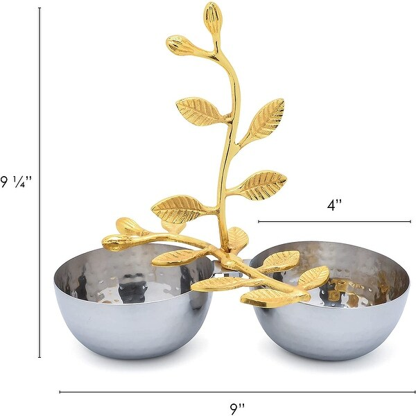 Cheer Collection Shiny Polished Stainless Steel Two Sectional Serving Bowl with Gold Leaf Handle