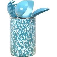 Calypso Basics by Reston Lloyd Enamel on Steel Utensil Holder and 5 Piece Utensil Set, Turquoise Marble